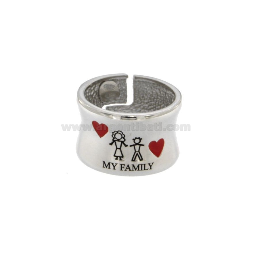prestazione affidabile prodotti di qualità servizio eccellente ANELLO A FASCIA MY FAMILY CON MAMMA E BIMBO MM 13 IN ARGENTO ...