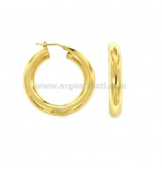 EARRINGS WITH CYLINDER TONDA MM 6 INTERNAL DIAMETER MM 25 IN SILVER GOLDEN TIT 925