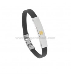 RUBBER BRACELET 'WITH PLATE IN STEEL WITH RUDDER IN Bilamina BRASS AND GOLD