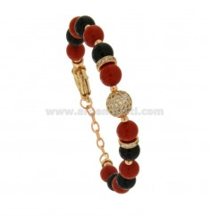 BRACELET WITH BALLS OF AGATE BLACK AND RED 9 MM AND TRAMEZZI WITH ZIRCONIA IN BRASS 18-21 CM
