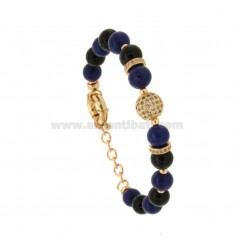 BRACELET WITH BALLS OF BLACK AGATE AND BLUE 9 MM AND TRAMEZZI WITH BRASS ZIRCONIA CM 18-21