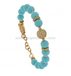 BRACELET WITH TURQUOISE PASTE BALLS MM 9 AND TRAMELETS WITH BRASS ZIRCONIA CM 18-21