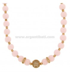 NECKLACE WITH BALLS OF AGATA ROSE 9 MM AND TRAMEZZI WITH BRASS ZIRCONIA CM 45-50