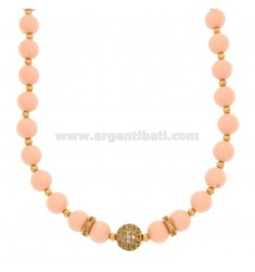 NECKLACE WITH PINK CORAL PASTA BALLS MM 9 AND SLEEVES WITH BRASS ZIRCONIA CM 45-50