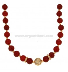 NECKLACE WITH BALLS OF RED AGATA 9 MM AND TRAMEZZI WITH BRASS ZIRCONIA CM 45-50