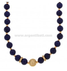 NECKLACE WITH BALLS OF AGATA BLUE 9 MM AND TRAMEZZI WITH BRASS ZIRCONIA CM 45-50