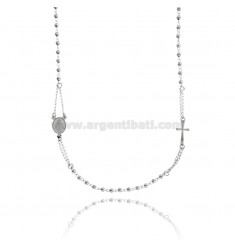 ROSARY NECKLACE WITH BALL 50 CM 3 MM SMOOTH SILVER RHODIUM 925 ‰