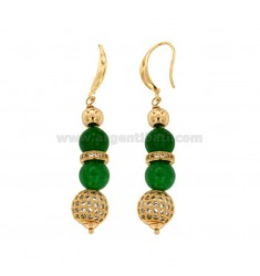 PENDANTS EARRINGS WITH BALLS OF AGATA GREEN 9 MM AND TRAMEZZI WITH BRASS ZIRCONIA