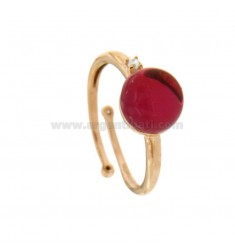 ROUND RING WITH CABOCHON OF HYDROTHERMAL STONE 10 MM FUCHSIA AND ZIRCONIA IN SILVER COPPER TIT 925 ‰ ADJUSTABLE MEASUREMENT