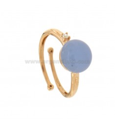 ROUND RING WITH CABOCHON IN HYDROTHERMAL STONE 10 MM SUGAR PAPER AND ZIRCONIA IN COPPER SILVER TIT 925 ‰ ADJUSTABLE SIZE