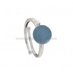 ROUND RING WITH CABOCHON OF HYDROTHERMAL STONE 10 MM BLUE AND ZIRCONIA IN SILVER RHODIUM TIT 925 ‰ ADJUSTABLE SIZE