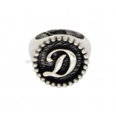 RING FROM MIGNOLO TONDO MM 16 WITH LITTER D IN SILVER BRUNITO TIT 925 ADJUSTABLE MEASURE FROM 6