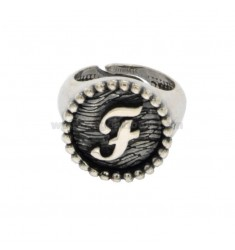 RING FROM MIGNOLO BUNDLE MM 16 WITH LETTER F IN SILVER BRUNITO TIT 925 ADJUSTABLE MEASURE FROM 6
