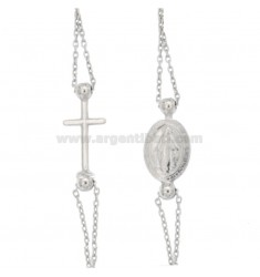 ROSARY CABLE NECKLACE WITH SMOOTH BALL 2.5 MM A GIRO CM 42-48 SILVER RHODIUM 925 ‰