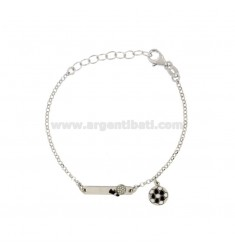 BRACELET BABY ROLO 'WITH PLATE AND BALL IN SILVER RIDIATO TIT 925 ‰ AND SMALTO CM 14-17