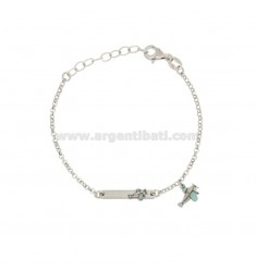 BRACELET BABY ROLO 'WITH PLATE AND PLANE IN SILVER RIDIATO TIT 925 ‰ AND SMALTO CM 14-17