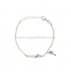 BRACELET BABY ROLO 'WITH PLATE AND RACKET TENNIS SILVER RIDIATO TIT 925 ‰ AND SMALTO CM 14-17