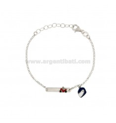 BRACELET BABY ROLO 'WITH PLATE AND HELMET IN SILVER RIDIATO TIT 925 ‰ AND SMALTO CM 14-17