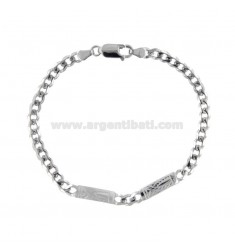 GRUMETTA BRACELET WITH 2 CENTRAL PLATES 5 MM WITH SATINATED PARTS IN SILVER RHODIUM TIT 925 ‰ CM 21