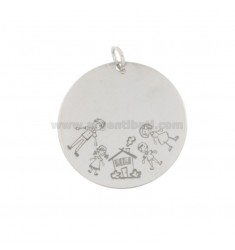 PENDANT 30 MM ROUND PAPA 'SILVER RHODIUM TIT 925 GIRL HOUSE CHILD AND MOTHER