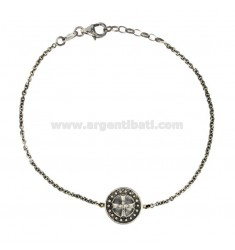 CABLE BRACELET WITH CENTRAL ROUND 14 MM WITH SILVER CROSS BRUNITO TIT 925 CM 20-22