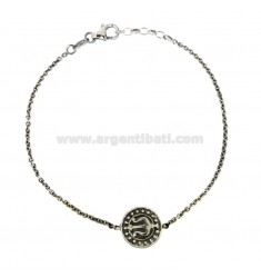 BRACELET CABLE WITH CENTRAL ROUND 14 MM WITH FORCONE NETTUNO SILVER BRUNITO TIT 925 CM 20-22