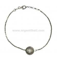 BRACELET CABLE WITH CENTRAL ROUND 14 MM WITH SILVER HEART SILVER BRUNITO TIT 925 CM 20-22