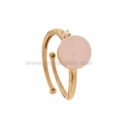 ROUND RING WITH CABOCHON OF HYDROTHERMAL STONE 10 MM ROSE AND ZIRCONIA IN SILVER COPPER TIT 925 ‰ ADJUSTABLE MEASUREMENT