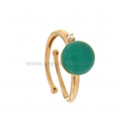 ROUND RING WITH CABOCHON OF HYDROTHERMAL STONE 10 MM GREEN AND ZIRCONIA IN COPPER SILVER TIT 925 ‰ ADJUSTABLE SIZE