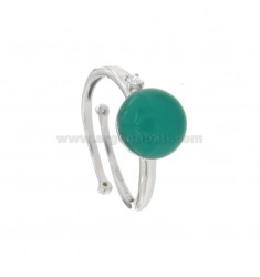 ROUND RING WITH CABOCHON OF HYDROTHERMAL STONE MM 11 GREEN AND ZIRCONIA IN SILVER RHODIUM TIT 925 ‰ ADJUSTABLE SIZE