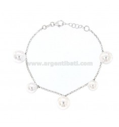 ROLO BRACELET WITH 5 CENTRAL BEADS IN SILVER RHODIUM TIT 925 CM 18-20