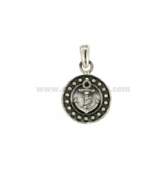 PENDANT 14 MM ROUND WITH ANCHOR IN SILVER BRUNITO TIT 925
