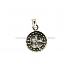 PENDANT 14 MM ROUND WITH CROSS IN SILVER BRUNITO TIT 925