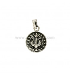 PENDANT 14 MM ROUND WITH FORCONE NETTUNO SILVER BRUNITO TIT 925