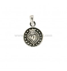 PENDANT 14 MM ROUND WITH SACRED HEART IN SILVER BRUNITO TIT 925