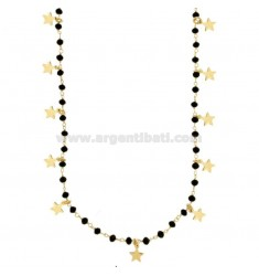 LACE WITH BLACK STONES AND 15 STARS PENDANTS IN SILVER GOLDEN TIT 925 ‰ CM 80