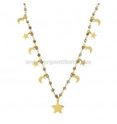 NECKLACE NECKLACE WITH STONES AND STARS AND LUNES IN GOLDEN SILVER TIT 925 ‰ CM 35-38