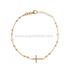 ROSARY BRACELET WITH CROSS AND TRAMELETS WITH WHITE ZIRCONIA SILVER COPPER TIT 925 CM 18-23