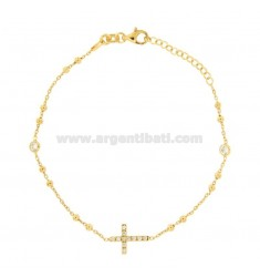 ROSARY BRACELET WITH CROSS AND TRAMELETS WITH WHITE ZIRCONS IN SILVER GOLDEN TIT 925 CM 18-23