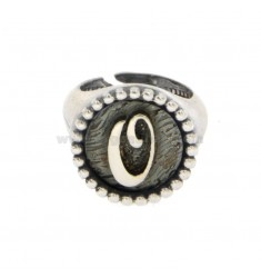 RING FROM MIGNOLO ROUND 16 MM WITH LETTER OR SILVER BRUNITO TIT 925 ADJUSTABLE SIZE FROM 6