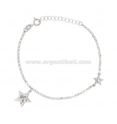 ROLO BRACELET WITH STAR STARS IN SILVER RHODIUM TIT 925 ‰ AND RHINESTON CM 17-19