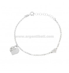 ROLO BRACELET WITH HEARTS IN SILVER RHODIUM TIT 925 ‰ AND RHINESTON CM 17-19