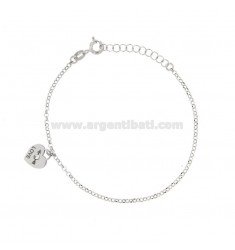 ROLO BRACELET WITH HEART LOVE IN SILVER RHODIUM TIT 925 ‰ AND RHINESTON CM 17-19