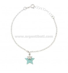 ROLO BRACELET WITH STAR ENAMELED IN SILVER RHODIUM TIT 925 ‰ CM 17-19