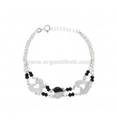 BRACELET FORZATINA WITH HEARTS IN SILVER RHODIUM TIT 925 ‰ GLITTER ONYX AND ENAMEL CM 17-20