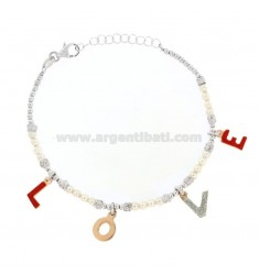 BRACELET WITH BALLS AND LOVE BEADS IN SILVER RHODIUM AND COPPER TIT 925 ‰ GLITTER AND ENAMEL CM 17-20