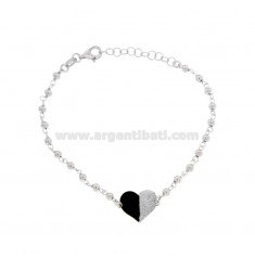 BRACELET WITH BALLS AND HEART IN SILVER RHODIUM TIT 925 ‰ GLITTER AND ENAMEL CM 17-20
