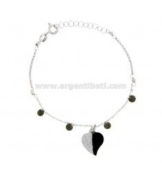 CUP BRACELET WITH HEART ZIRCONS GLITTER AND ENAMEL SILVER RHODIUM TIT 925 ‰ CM 17-19
