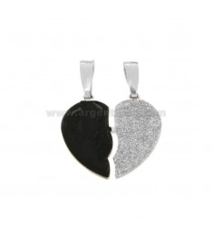 PENDANT HEART LARGE DIVIDED IN SILVER RHODIUM TIT 925 ‰ SMALTO AND GLITTER