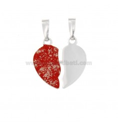 PENDANT HEART LARGE DIVIDED IN SILVER RHODIUM TIT 925 ‰ AND GLITTER